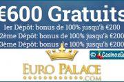 EuroPalace Casino, un Microgaming doté de 600 jeux et 600 €/$/£/C$ de bonus.